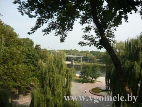 Вид на пешеходный мост через реку Сож